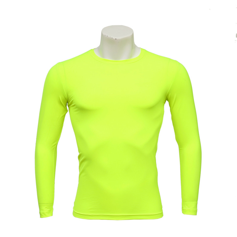 Men's Long-sleeved Seamless Fluorescent Yellow Compression Tight and Fast Dry T-shirt