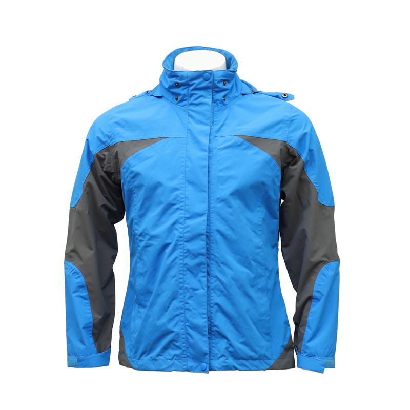 Winter Sky Blue and Grey Cut and Sewn Water-repellent Wind-proof Outdoor Zip-up Jacket with Foldable Hood