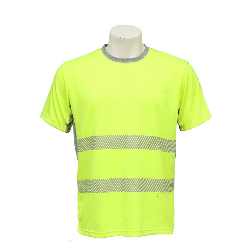 Men's Short-sleeved Round-neck Florescent T-shirt with Reflective Stripes