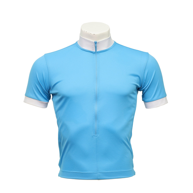 Men's Short-sleeved Zip-up Cycling Jersey with Back Pockets
