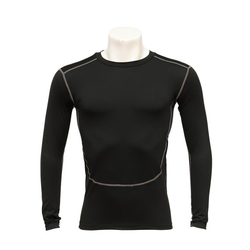 Men's Round-neck Long-sleeved Black Compression T-shirt