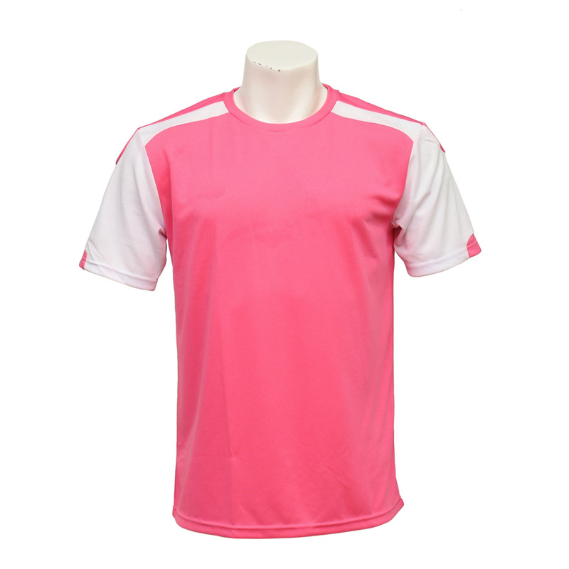 Men's Short-sleeved Anti-UV Soccer Jersey (Pink and White)
