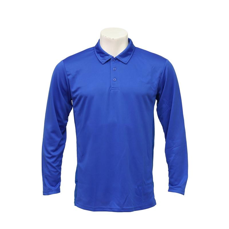 Men's Polo-neck Long-sleeved Welt-seam Fast-dry Blue Uniform