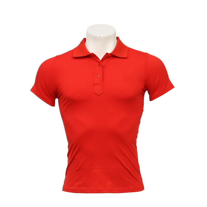 Men's and Women's Red Elastic Cotton Polo-neck Short-sleeved and Long-sleeved Staff T-shirt