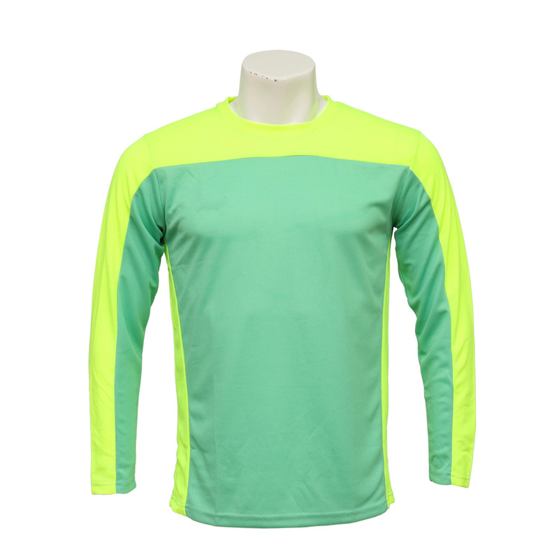 Men's Round-neck Long-sleeved Cut and Sewn Florescent Green and Yellow Jersey for Soccer Games