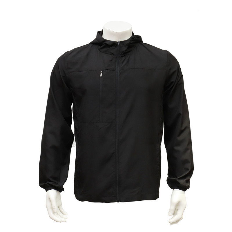 Men's Raglan Long Sleeved Lightweight Water-repellent Black Zip-up Hiking Jacket with Hood