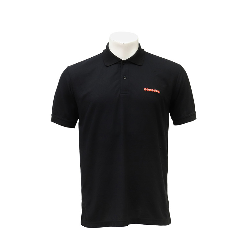 Chest Embroidered LOGO Polo-neck Staff T-shirt