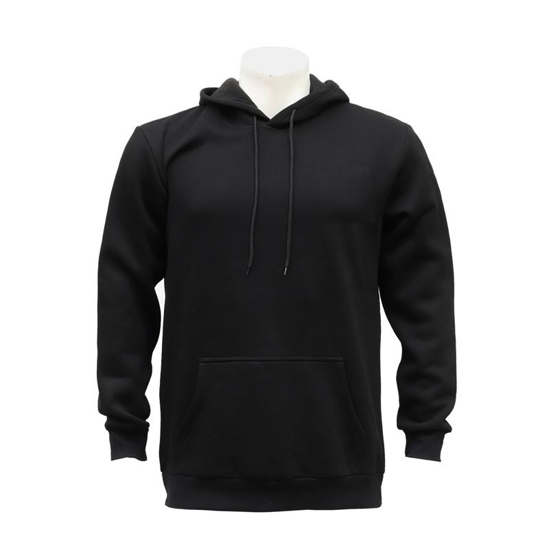 Male and Female Black Blank Hooded Sweatshirt