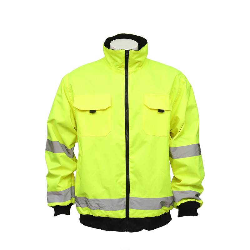 Road Workers' Outdoor Work Florescent Jacket Uniform with Reflective Stripes