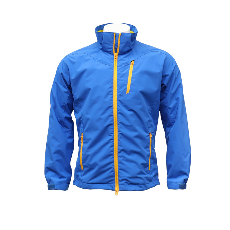Men's Two-in-one Zip-up Water-proof Jacket with Three Front Pockets and two inner pockets and a fodable hood