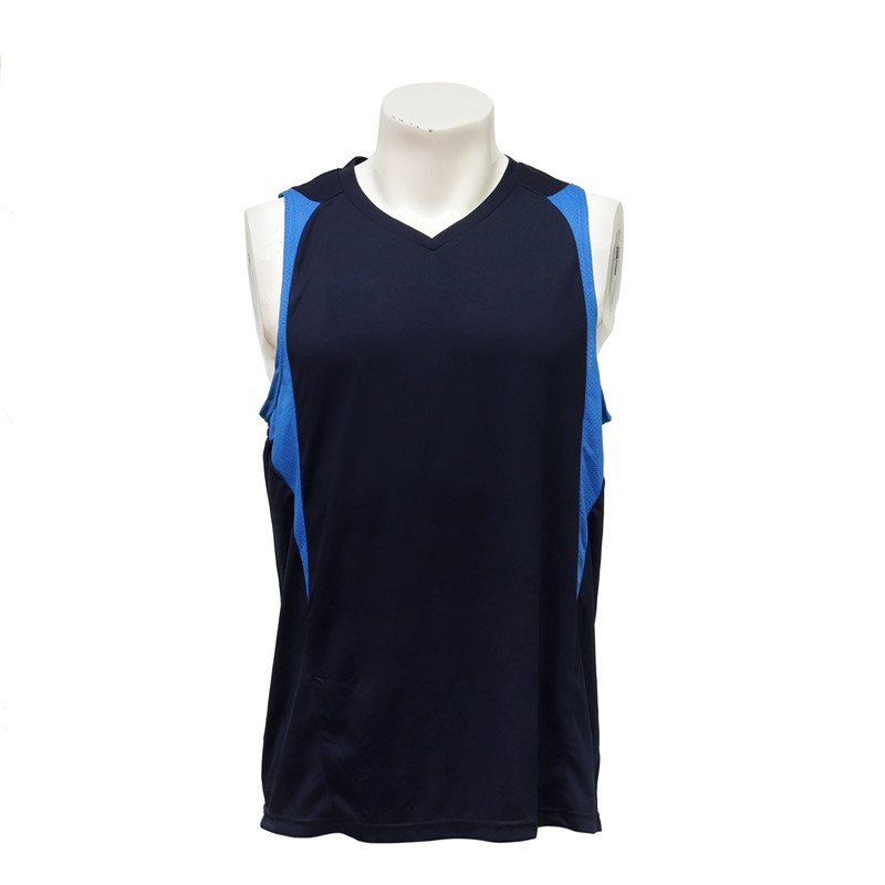 Male Sleeveless Sky Blue and Navy Blue Cut and Sewn Basketball Jersey Vest