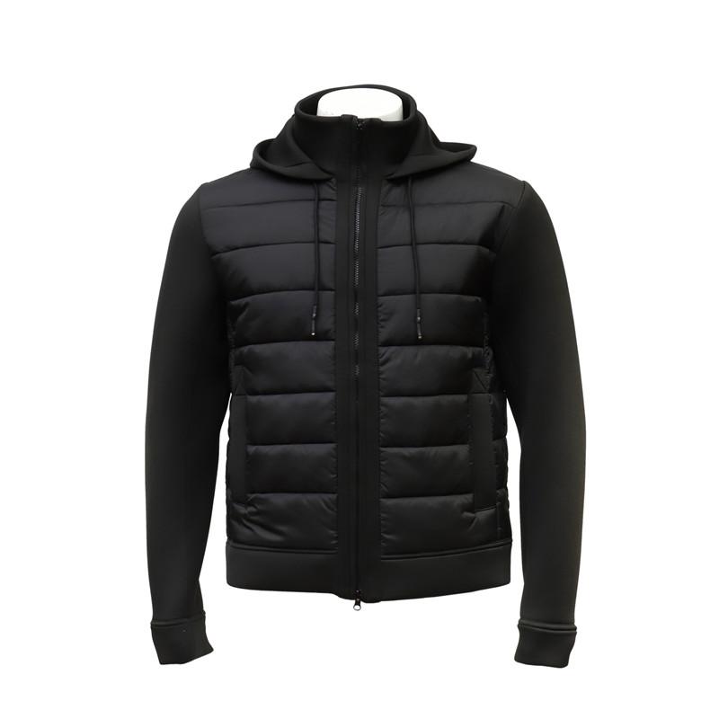 Men's Fleece Padded Zip-up Black Jacket with Hood