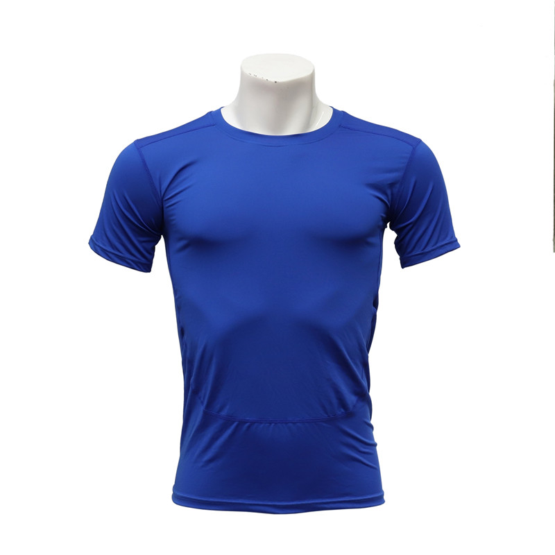 Male Round-neck Short-sleeved Fast Dry Elastic Blue Workout T-shirt