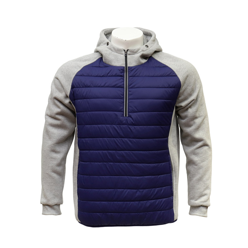 Men's Raglan Long Sleeved Half-zip Hoody Sweatshirt with Padded Front Panel