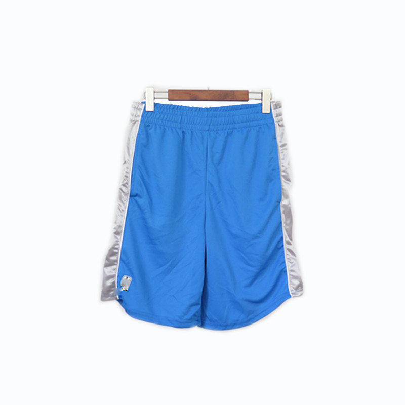 Men's 100% Polyester Basketball Shorts with Silver Color Side Panels