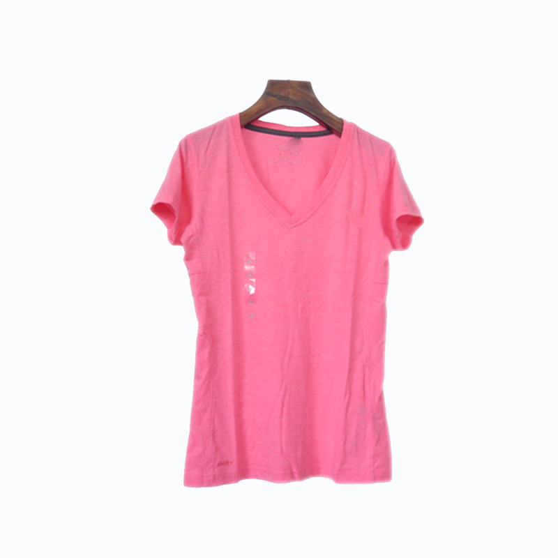 Female V-neck Short-sleeved Pure Color Fast Dry T-shirt