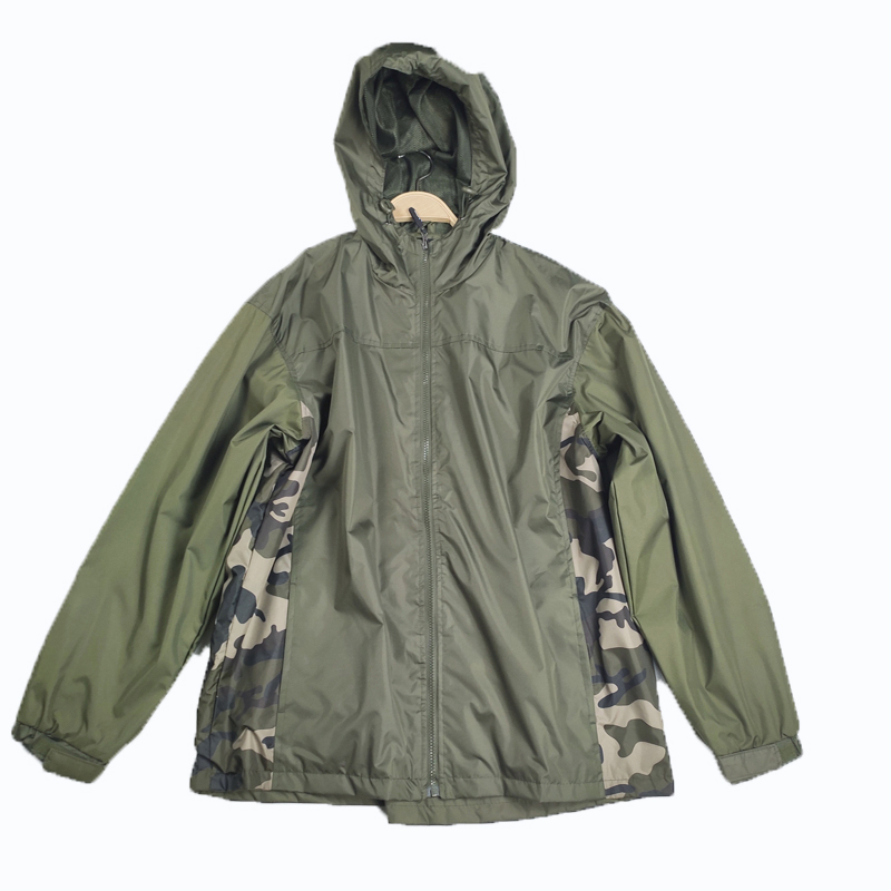 Water-proof Green Camouflage Style Hooded Jacket