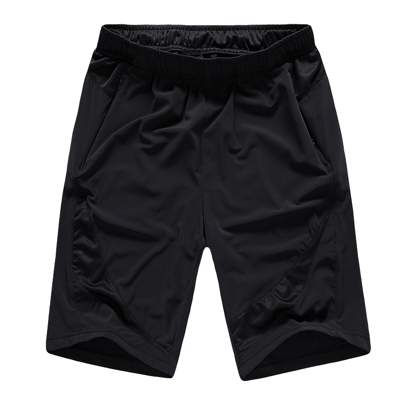 Men's Four-way Elastic Woven Polyester Fast Dry Black Soccer Shorts with Pockets