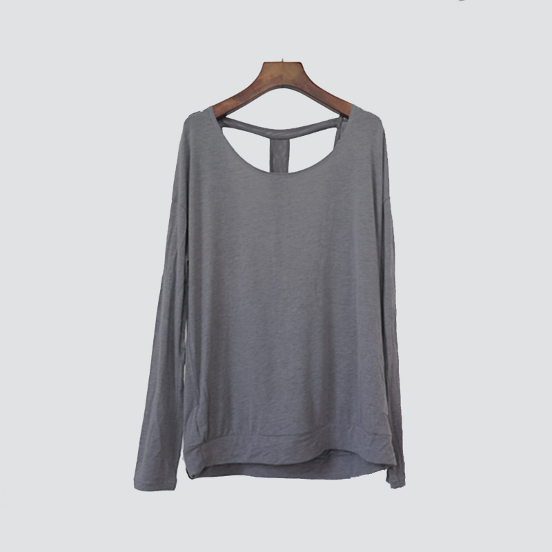 Women's Round-neck Long-sleeved with thumb hole and back mesh T part Loose Top Wear for Yoga