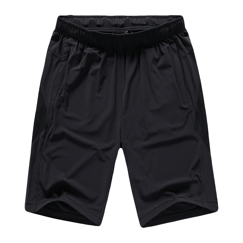 Men's Four-way Elastic Woven Polyester Fast Dry Black Soccer Shorts
