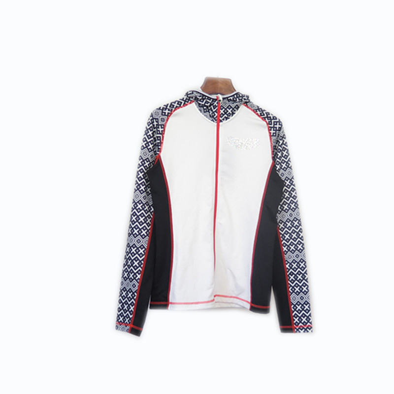 Women's Long Raglan Sleeves Zip-up Thin Sublimation Printed Jacket with Hood