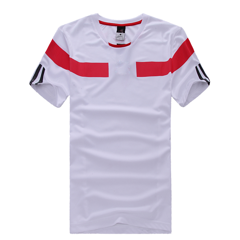 Men Short-sleeved Blue, Fluorescent, White, and Red Football Jersey with Print