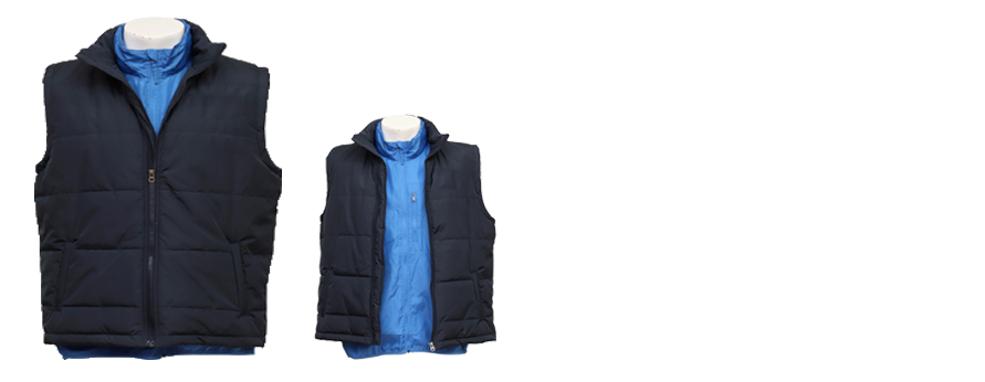 Two in One Sleeveless Blue Zip-up Stand-collar Jacket with Hood