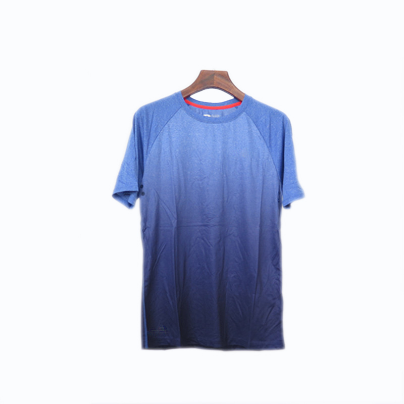 Men's Round-neck Short Raglan Sleeves Fast Dry Gradient Color Sports T-shirt