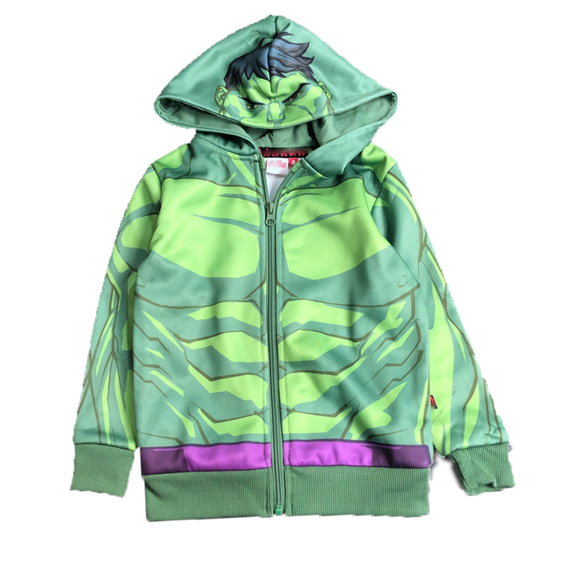 Kids' Full Sublimation-printed Ninja Green Zip-up Hoody Sports Jersey