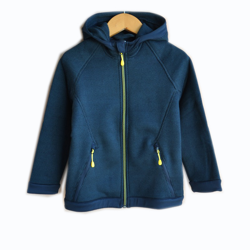 Boy's Knit Jacket with Hood and Zipped Pockets