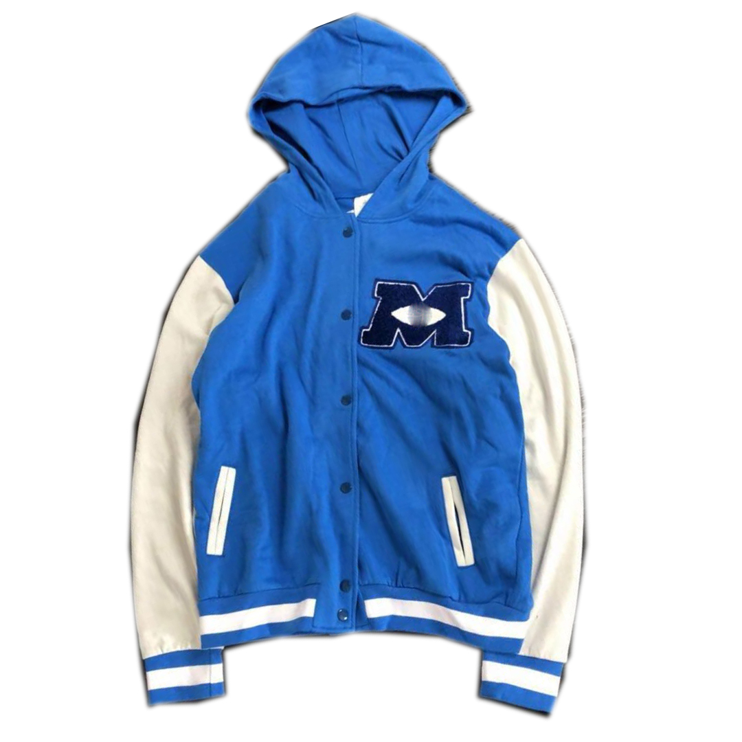 Juniors' Blue and White Button-up Hoody Baseball Jacket  with Embroidery LOGO and Print back