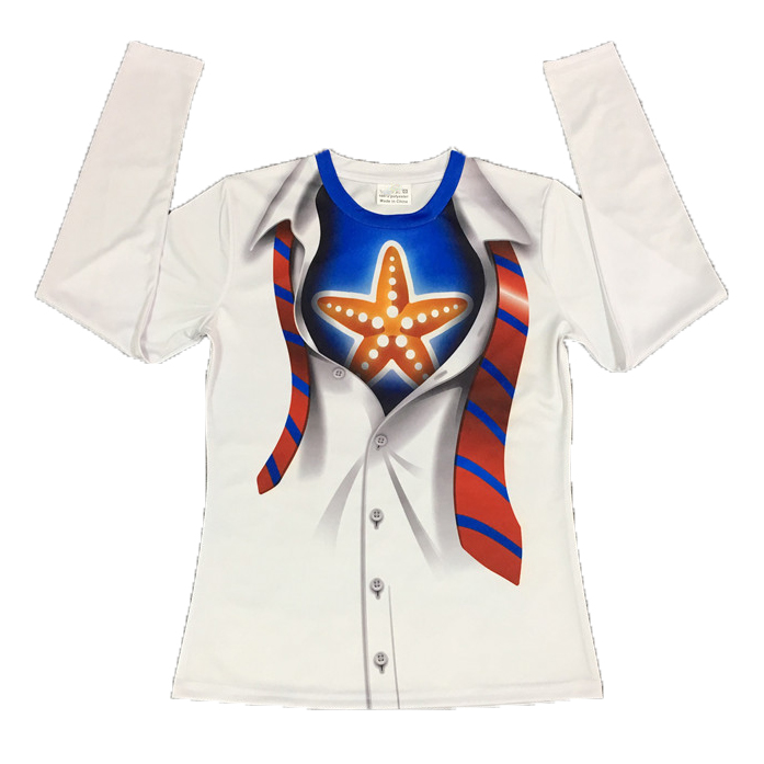 Starfish Sublimation Printed Long-sleeved Round-neck Fast-dry T-shirt