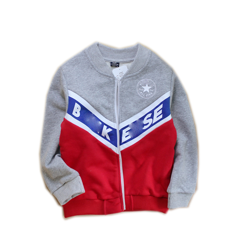 Teenager's Zip-up Contrast-color Cut-and-Sewn Round-neck Cotton Jacket with Print