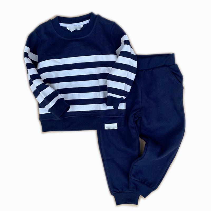 Boy's Stripped Cotton Sweatshirt and Long Pants Suit