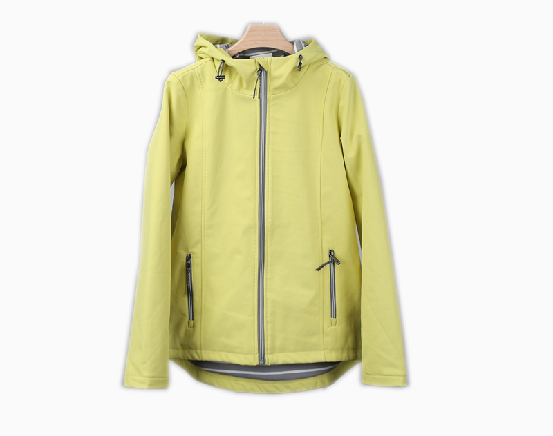 8 dollars Softshell Wind-proof Fluorescent Yellow Outdoor Hooded Jacket with Lining